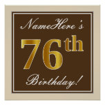 [ Thumbnail: Elegant, Brown, Faux Gold 76th Birthday + Name Poster ]