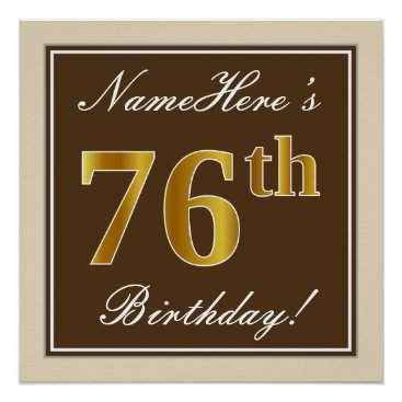 Art Themed Elegant, Brown, Faux Gold 76th Birthday   Name Poster
