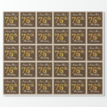 [ Thumbnail: Elegant, Brown, Faux Gold 76th Birthday + Name Wrapping Paper ]