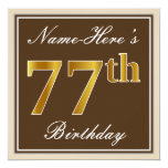 [ Thumbnail: Elegant, Brown, Faux Gold 77th Birthday + Name Invitation ]