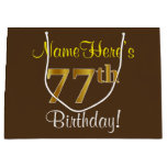 [ Thumbnail: Elegant, Brown, Faux Gold 77th Birthday + Name Gift Bag ]