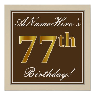 Art Themed Elegant, Brown, Faux Gold 77th Birthday   Name Poster