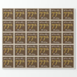 [ Thumbnail: Elegant, Brown, Faux Gold 77th Birthday + Name Wrapping Paper ]
