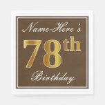 [ Thumbnail: Elegant Brown, Faux Gold 78th Birthday + Name Napkin ]