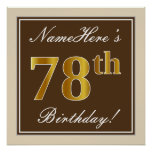 [ Thumbnail: Elegant, Brown, Faux Gold 78th Birthday + Name Poster ]