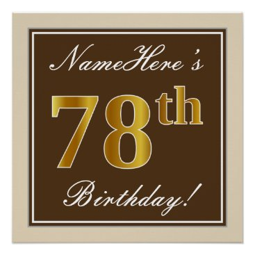 Art Themed Elegant, Brown, Faux Gold 78th Birthday   Name Poster