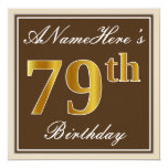 [ Thumbnail: Elegant, Brown, Faux Gold 79th Birthday + Name Invitation ]
