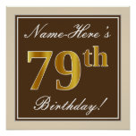 [ Thumbnail: Elegant, Brown, Faux Gold 79th Birthday + Name Poster ]