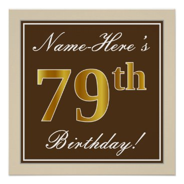 Art Themed Elegant, Brown, Faux Gold 79th Birthday   Name Poster
