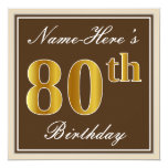 [ Thumbnail: Elegant, Brown, Faux Gold 80th Birthday + Name Invitation ]