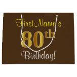 [ Thumbnail: Elegant, Brown, Faux Gold 80th Birthday + Name Gift Bag ]