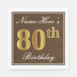 [ Thumbnail: Elegant Brown, Faux Gold 80th Birthday + Name Napkin ]