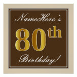 [ Thumbnail: Elegant, Brown, Faux Gold 80th Birthday + Name Poster ]