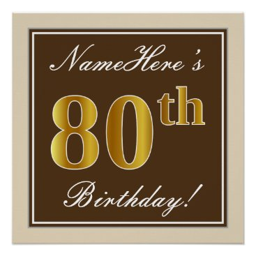 Art Themed Elegant, Brown, Faux Gold 80th Birthday   Name Poster