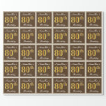 [ Thumbnail: Elegant, Brown, Faux Gold 80th Birthday + Name Wrapping Paper ]