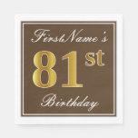 [ Thumbnail: Elegant Brown, Faux Gold 81st Birthday + Name Napkin ]