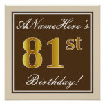[ Thumbnail: Elegant, Brown, Faux Gold 81st Birthday + Name Poster ]