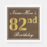 [ Thumbnail: Elegant Brown, Faux Gold 82nd Birthday + Name Napkin ]