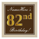 [ Thumbnail: Elegant, Brown, Faux Gold 82nd Birthday + Name Poster ]