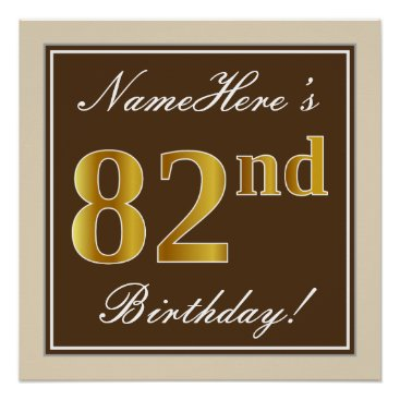 Art Themed Elegant, Brown, Faux Gold 82nd Birthday   Name Poster