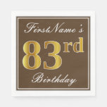 [ Thumbnail: Elegant Brown, Faux Gold 83rd Birthday + Name Paper Napkin ]