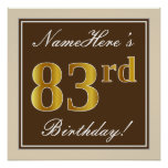[ Thumbnail: Elegant, Brown, Faux Gold 83rd Birthday + Name Poster ]