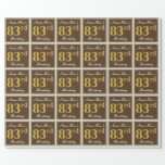 [ Thumbnail: Elegant, Brown, Faux Gold 83rd Birthday + Name Wrapping Paper ]