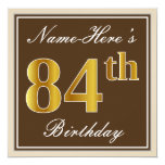 [ Thumbnail: Elegant, Brown, Faux Gold 84th Birthday + Name Invitation ]