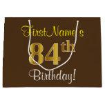 [ Thumbnail: Elegant, Brown, Faux Gold 84th Birthday + Name Gift Bag ]