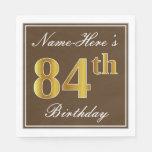 [ Thumbnail: Elegant Brown, Faux Gold 84th Birthday + Name Napkin ]