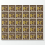 [ Thumbnail: Elegant, Brown, Faux Gold 84th Birthday + Name Wrapping Paper ]