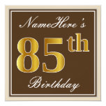 [ Thumbnail: Elegant, Brown, Faux Gold 85th Birthday + Name Invitation ]