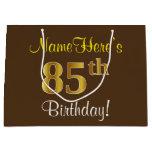 [ Thumbnail: Elegant, Brown, Faux Gold 85th Birthday + Name Gift Bag ]