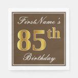 [ Thumbnail: Elegant Brown, Faux Gold 85th Birthday + Name Paper Napkin ]