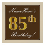 [ Thumbnail: Elegant, Brown, Faux Gold 85th Birthday + Name Poster ]