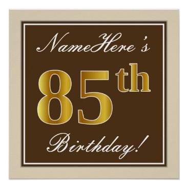 Art Themed Elegant, Brown, Faux Gold 85th Birthday   Name Poster