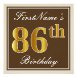 [ Thumbnail: Elegant, Brown, Faux Gold 86th Birthday + Name Invitation ]