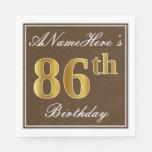 [ Thumbnail: Elegant Brown, Faux Gold 86th Birthday + Name Paper Napkin ]