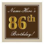 [ Thumbnail: Elegant, Brown, Faux Gold 86th Birthday + Name Poster ]