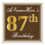 [ Thumbnail: Elegant, Brown, Faux Gold 87th Birthday + Name Invitation ]