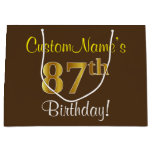 [ Thumbnail: Elegant, Brown, Faux Gold 87th Birthday + Name Gift Bag ]