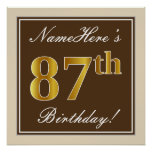 [ Thumbnail: Elegant, Brown, Faux Gold 87th Birthday + Name Poster ]
