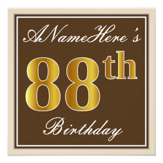 Elegant, Brown, Faux Gold 88th Birthday + Name Card