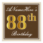 [ Thumbnail: Elegant, Brown, Faux Gold 88th Birthday + Name Invitation ]