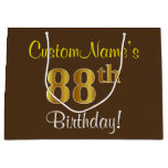[ Thumbnail: Elegant, Brown, Faux Gold 88th Birthday + Name Gift Bag ]