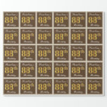 [ Thumbnail: Elegant, Brown, Faux Gold 88th Birthday + Name Wrapping Paper ]