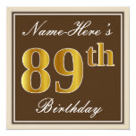 [ Thumbnail: Elegant, Brown, Faux Gold 89th Birthday + Name Invitation ]