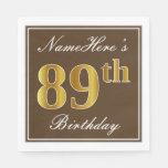 [ Thumbnail: Elegant Brown, Faux Gold 89th Birthday + Name Paper Napkin ]