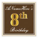 [ Thumbnail: Elegant, Brown, Faux Gold 8th Birthday + Name Invitation ]