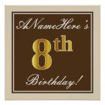 [ Thumbnail: Elegant, Brown, Faux Gold 8th Birthday + Name Poster ]